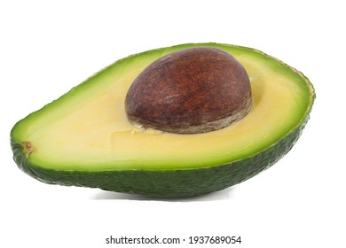 Cut avocado, isolated on white background, lies