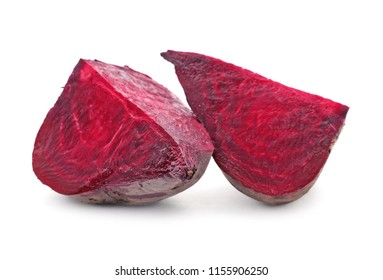 Cut beet on white background. Taproot vegetable