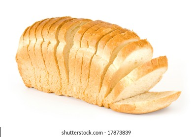 The cut bread on a white background