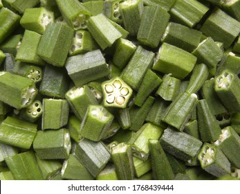 Cut cross section detail of green raw Okra