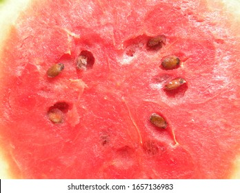 Cut cross section detail of red color cut ripe watermelon fruit