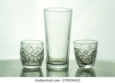 cut crystal glasses with 22% lead