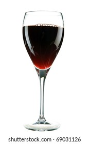 "a cut crystal wine glass filled with sweet red wine also known to some as the ""Nectar Of The Gods"" isolated on white with room for your text"