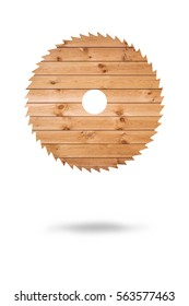 cut diamond disc on a white background wood texture