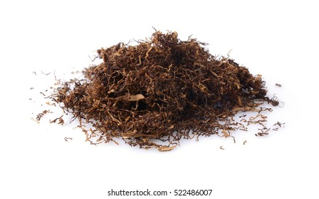 Cut dried leaves of tobacco for cigarettes isolated on a white