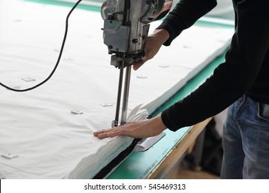 cut fabric using machine