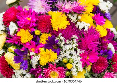 cut flowers in bouquet for sale, close-up