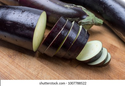 Cut fresh eggplant vegetables