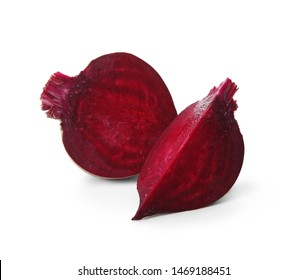 Cut fresh red beet on white background