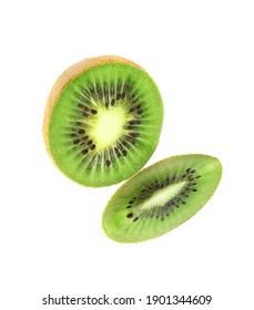 Cut fresh ripe kiwi on white background, top view