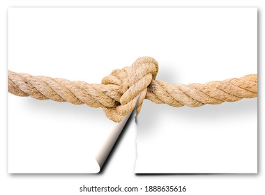 Cut the gordian knot - problem solving concept image with a ripped photo of a knot.