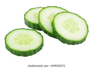 cut green cucumber isolated on white background clipping path