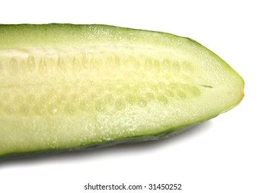 cut green cucumber isolated on white background