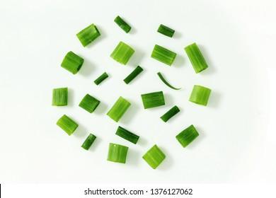 cut green onio top view