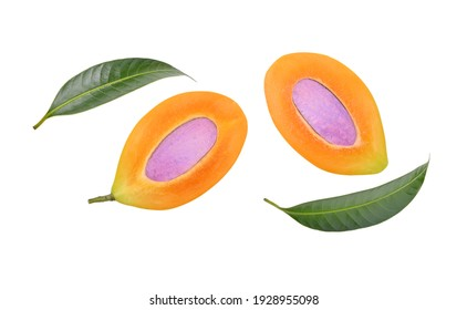 Cut half ripe Sweet Yellow Marian plum with leaves isolated on white background. Top view