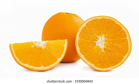 Cut in half and slice a ripe orange fruit with golden yellow peel. Isolated on white background with shadow.