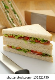 cut ham sandwiches with packaging