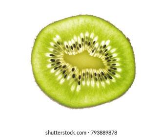 cut kiwi fruit on a white background
