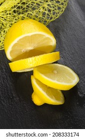 Cut lemon on slate