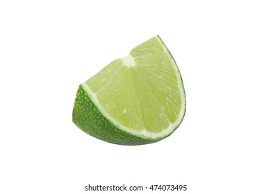 cut lime fruits isolated on white background
