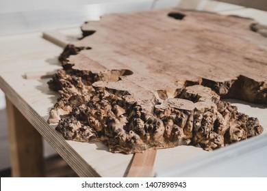 a cut of live edge wood