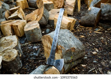 Cut log fire wood and old axe