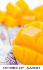 Cut mango closeup