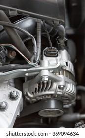 cut metal engine, detail of a car engine