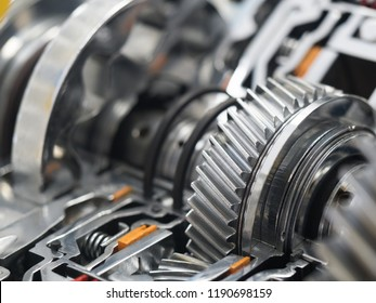 Cut model of automobile transmission