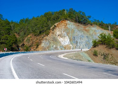 A cut of a mountain on the road Fethiye-Göcek-Dalaman-MuÄ?la in Turkey.