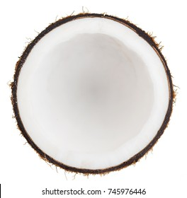 Cut off coconut isolated on white background.