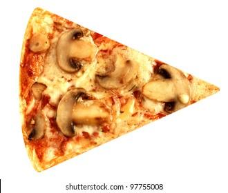 Cut off slice mushroom pizza vegetarian isolated on white background