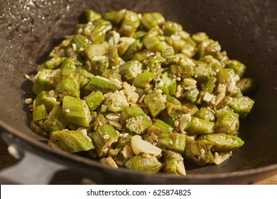 cut okra and garlic pan fried in olive oil