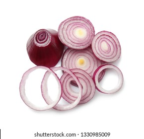 Cut onion on white background