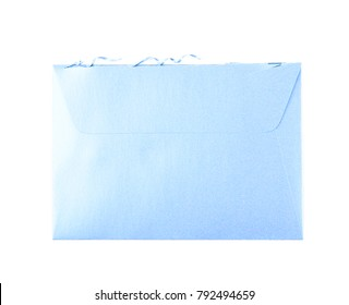 Cut open paper envelope isolated over the white background