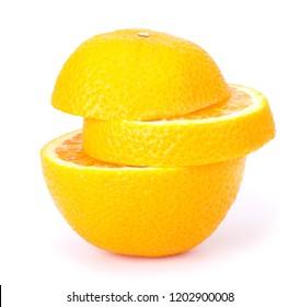 Cut Orange fruit isolated on white background