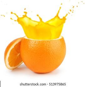cut orange juice splashing isolated on white
