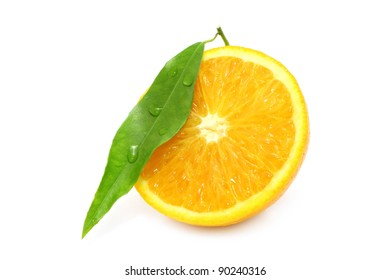 Cut orange on white background