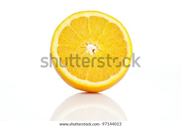 Cut an orange. White background. Isolated.