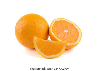 Cut oranges isolated on white