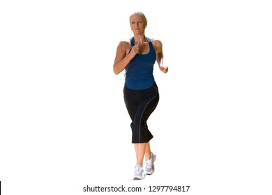 Cut out of active mature woman jogging listening to mp3 player
