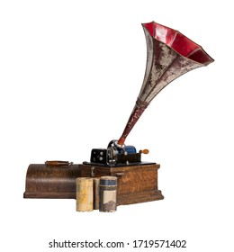Cut out of antique phonograph and three cylinder records, isolated on white, includes clipping path