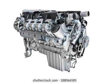 Cut out diesel engine of a truck.