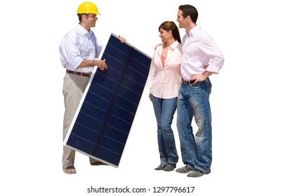 Cut out of energy engineer with couple holding solar panel