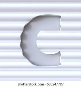 Cut out font in wave surface LETTER C 3D rendering illustration