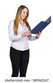 Cut out image of a young smiling woman who is holding a blue opened file while looking to the file