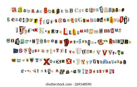 Cut out Kidnapper Ransom Note Letters Isolated on White Background.