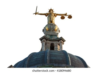Cut out of the Lady Justice Statue on the top of the Old Bailey in London, England.