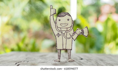 cut out paper of doctor holding stethoscope, health concept