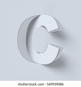 Cut out and rotated font 3d rendering letter C